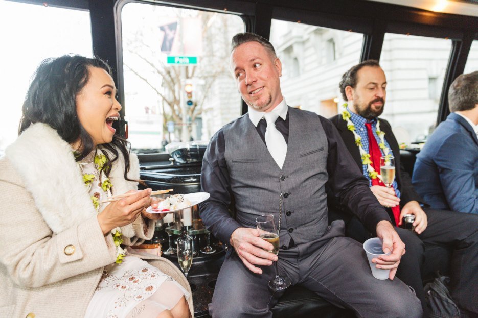 san francisco fun wedding photography wedding guests in limo