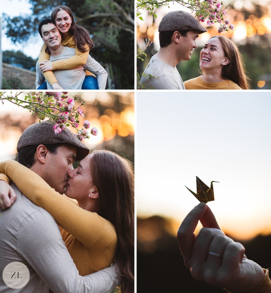 east bay sunset engagement shoot in rose garden