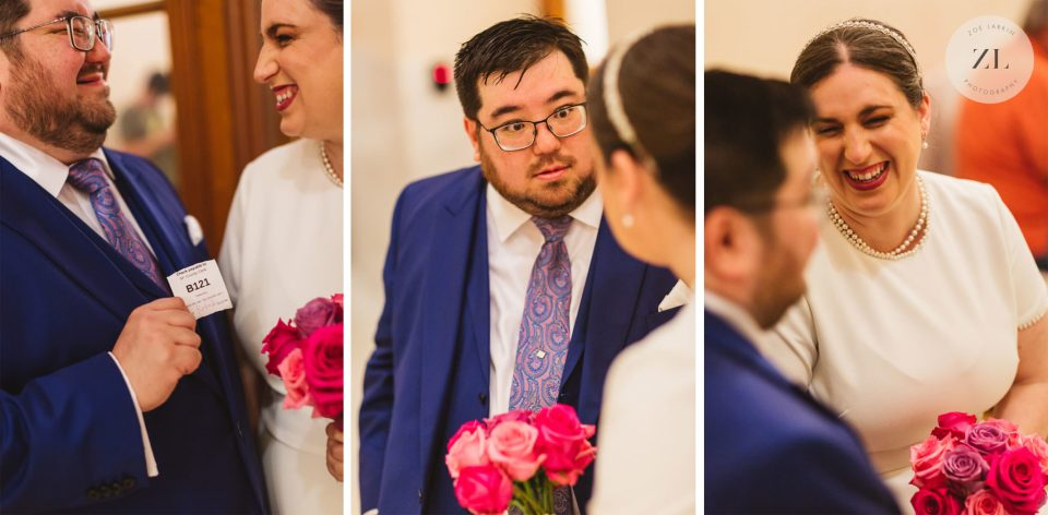 the look on the groom's face when he realized he forgot the ring - waiting to get married at San Francisco City Hall | Photos by Zoe Larkin Photography