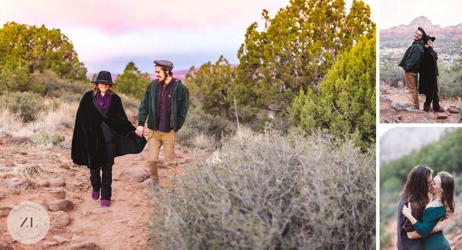 destination engagement photoshoot at sunrise in arizona
