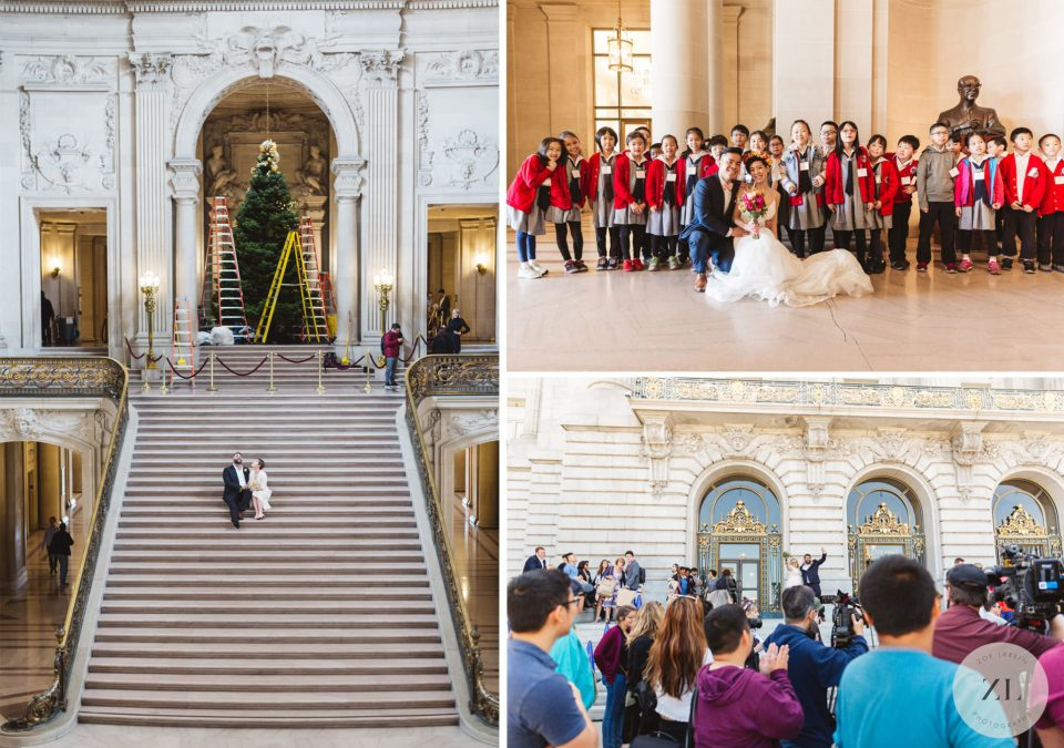 Three unexpected events that took place at my SF City Hall weddings! The Christmas tree was being erected, a group of schoolkids were visiting, and a press conference took place outside San Francisco City Hall. Zoe Larkin Photography