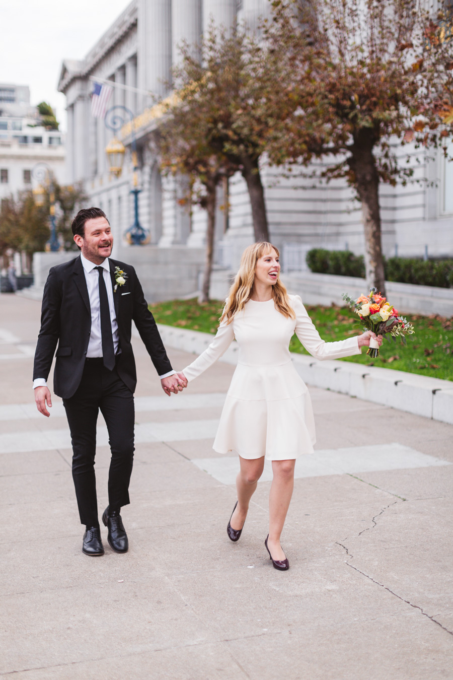 joyful stylish city hall wedding photography