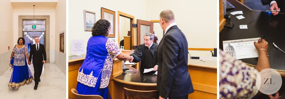 couple checking in for wedding in room 168 city hall clerk's office