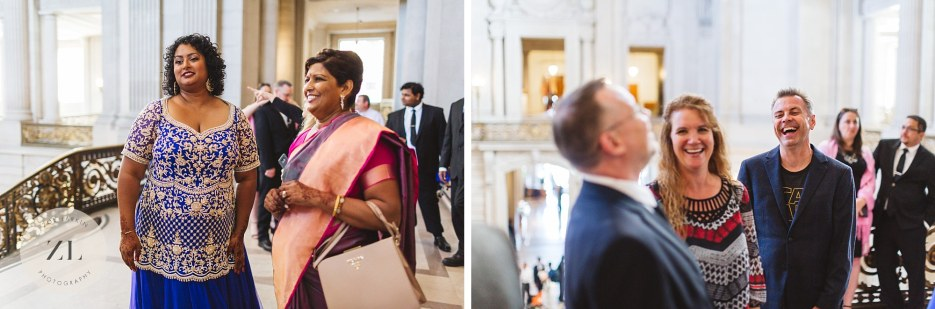 candid san francisco city hall wedding photography on guest interactions