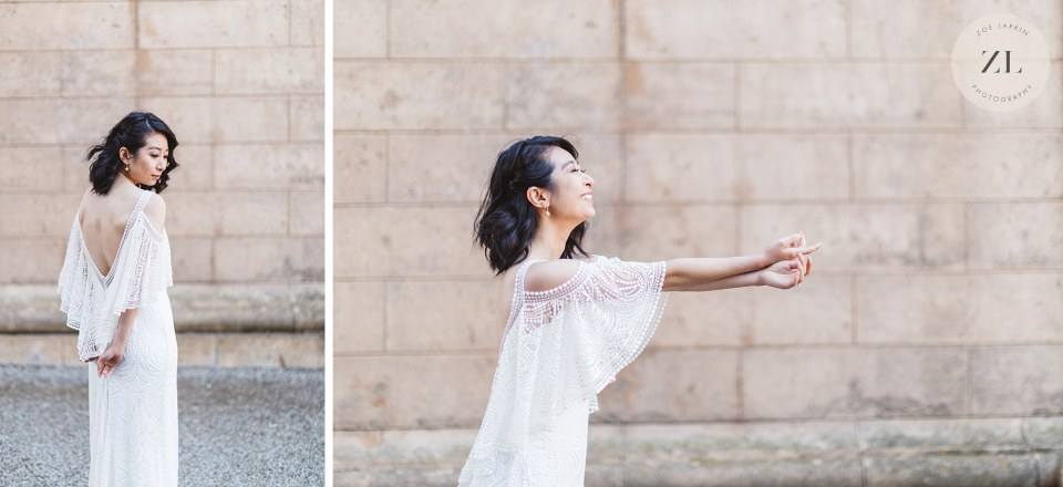 bridal portraits at palace of fine arts sf after city hall wedding