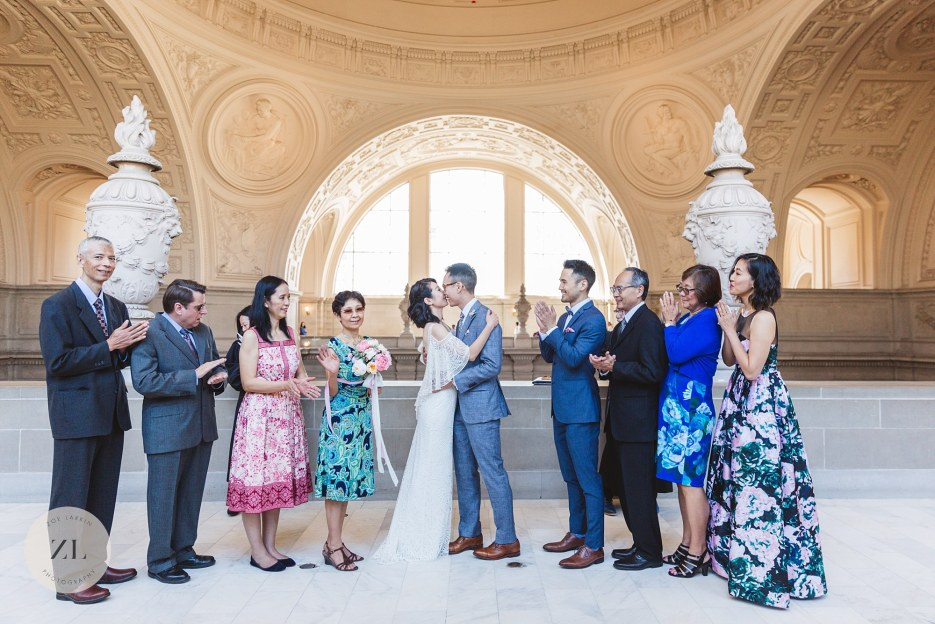 epic kissing shot at san francisco city hall 4th floor ceremony