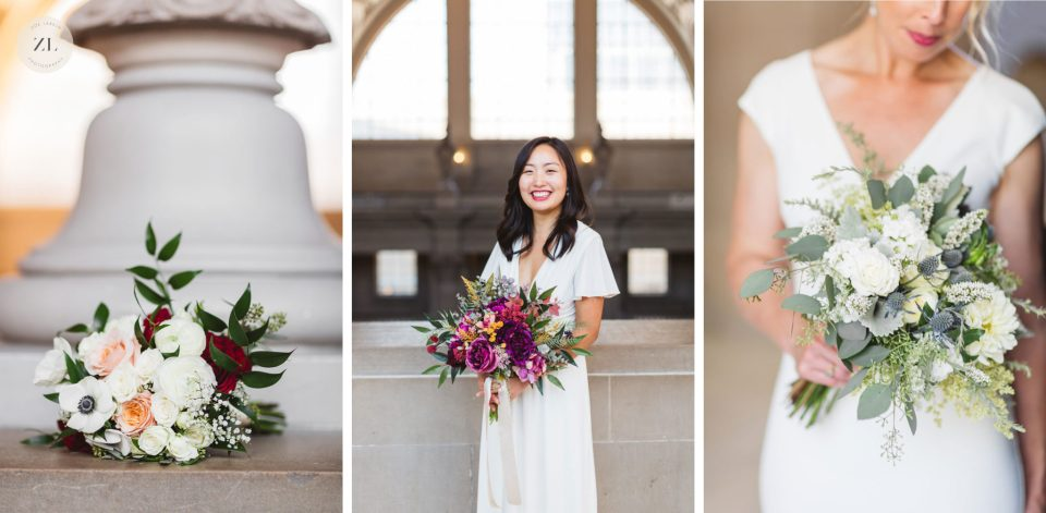 collage of 3 wedding bouquets at San Francisco City Hall weddings