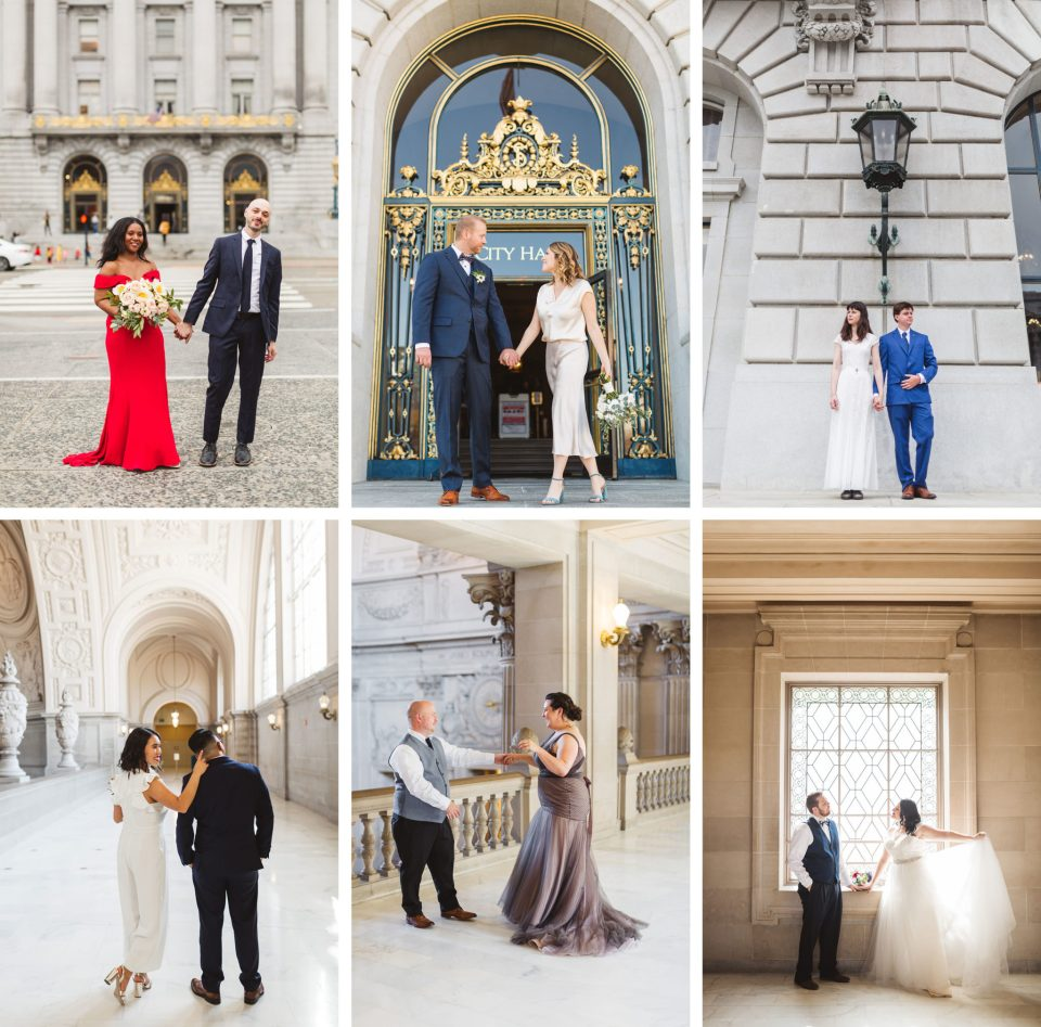 What to wear to your City Hall wedding? There are so many options for wedding attire these days, and with a City Hall wedding like these San Francisco City Hall ones, you can take your pick between traditional and contemporary, formal or relaxed, colorful or plain. If you're looking for inspiration for what to wear to your civil ceremony, take a peek at some of these gorgeous wedding ideas from previous City Hall clients! #cityhallwedding | Zoe Larkin Photography