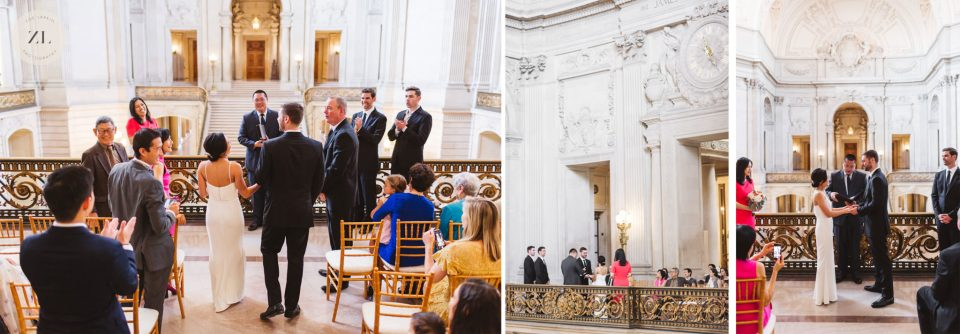 This wedding ceremony took place on the Mayor's balcony at SF City Hall, one of the areas available for an hour-long rental for $1,000 | Zoe Larkin Photography