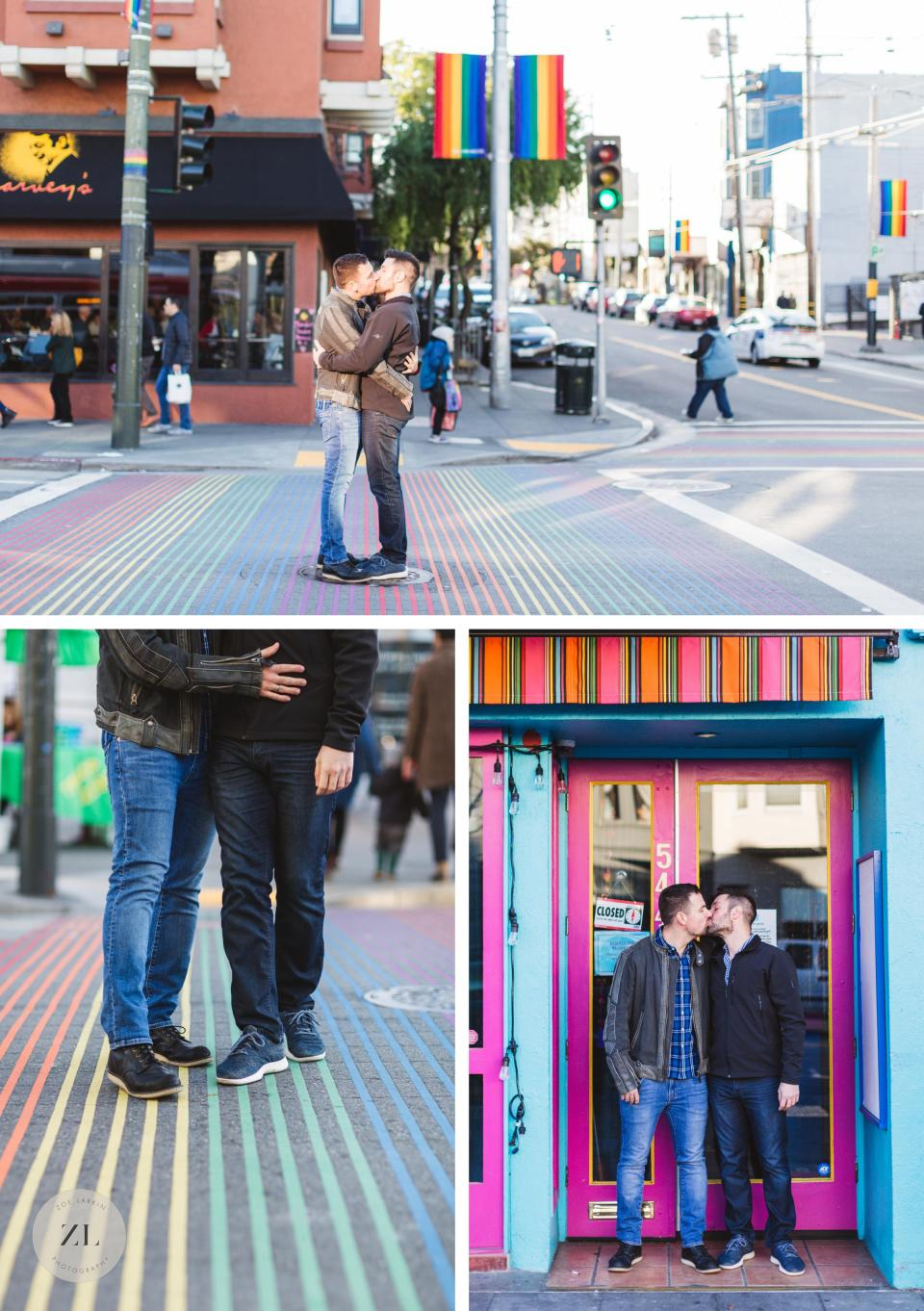 iconic san francisco castro rainbow photoshoot with gay engaged couple