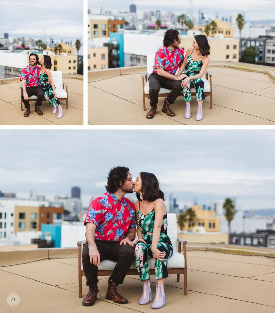 editorial couples shoot rooftop photography with san francisco skyline in background