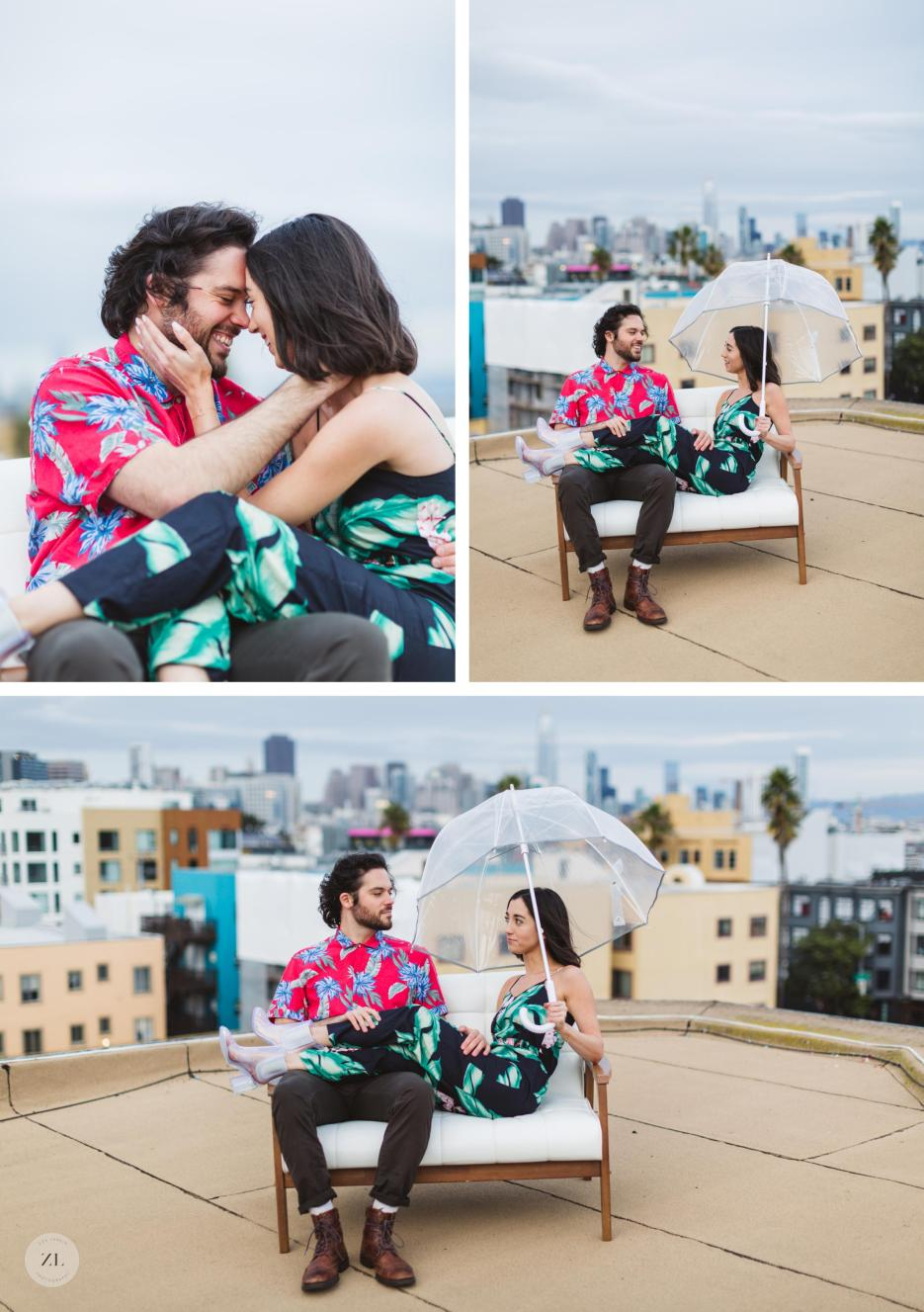 couple sitting on loveseat on rooftop during engagement shoot