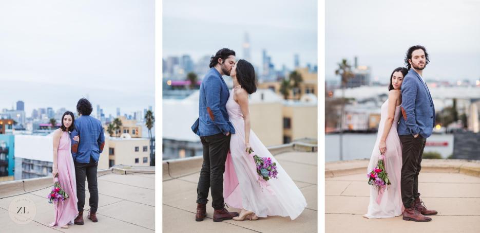 romantic engagement wedding imagery with iconic san francisco skyline