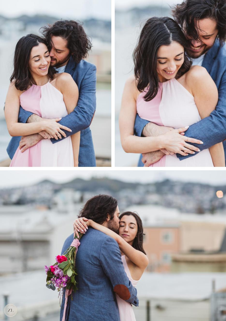 couple hugging and kissing on bay area rooftop