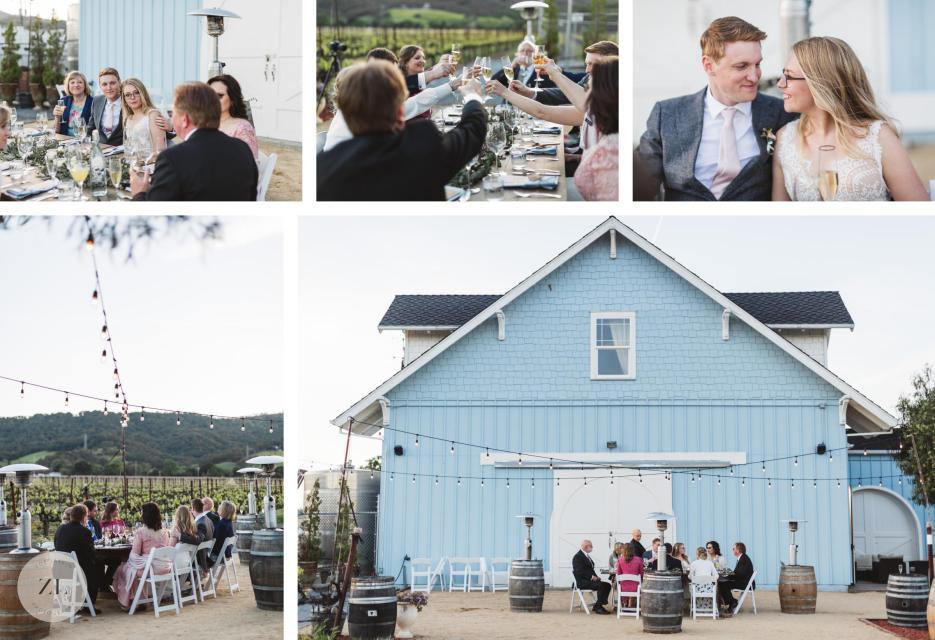 informal wedding reception photo collage at the blue victorian fairfield