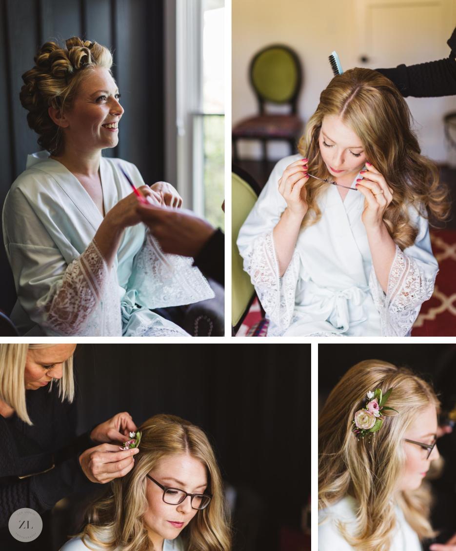 bride preparation photos with floral comb