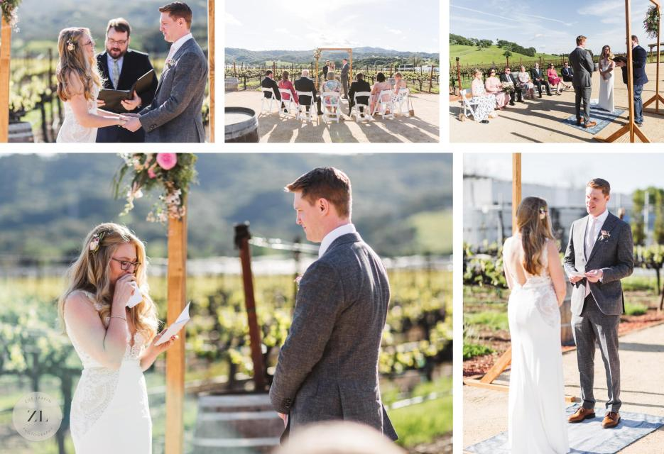 couple getting married under ceremony arch at vezer family vineyard wedding solano county ca