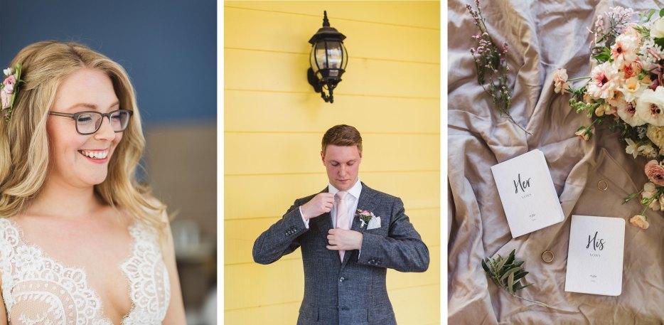 collage of wedding preparation images at california vineyard wedding vezer