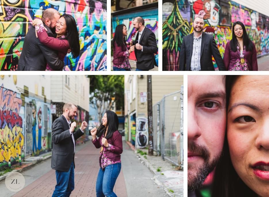balmy alley 24th street mission san francisco engagement session photos