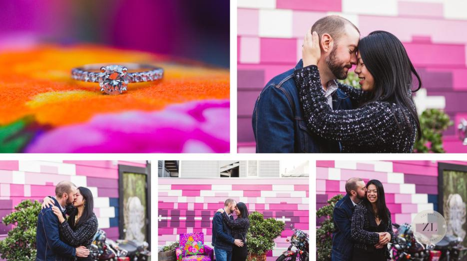 pink murals and motorcycle in quirky balmy alley engagement session
