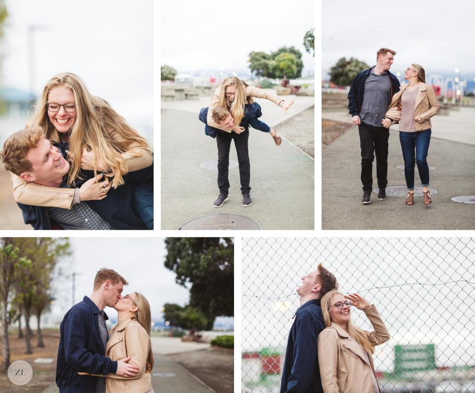 lake merritt and port view park oakland engagement photos