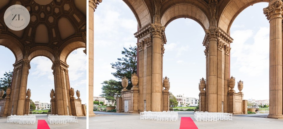 palace of fine arts wedding ceremony space by Zoe Larkin Photography