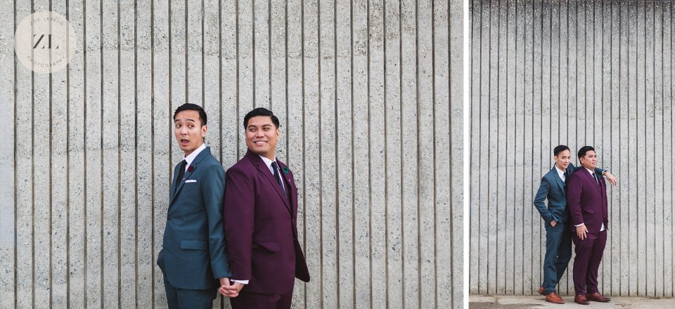 gay couple wedding portraits at marina near palace of fine arts san francisco