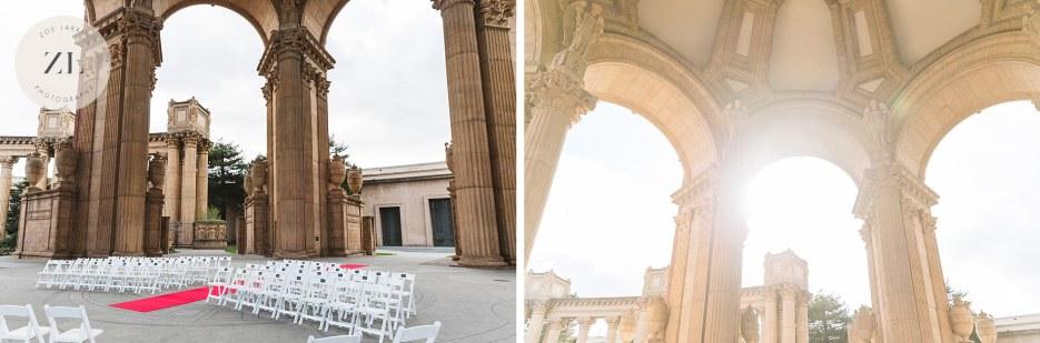 wedding ceremony set up at palace of fine arts san francisco