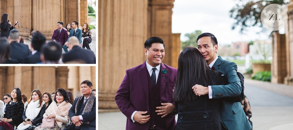 touching  ceremony moments at Palace of Fine Arts wedding, San Francisco
