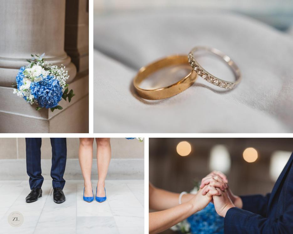 wedding details at San Francisco City Hall wedding flowers, blue shoes, rings