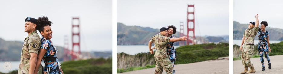 dancing couple with Golden Gate Bridge backdrop at engagement photoshoot