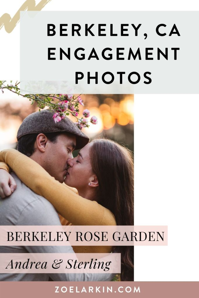 Berkeley engagement photography inspiration in the beautiful Berkeley Rose Garden! This beautiful East Bay spot is perfect for engagement sessions and love photography. The roses are romantic and provide photographic opportunities. For this fall shoot, Andrea and Sterling played and frolicked with the fallen leaves too, a great way to have fun on your engagement shoot. Looking for a Bay Area engagement photographer? #berkeleyca #engagementphotography #bayareaengagement | Zoe Larkin Photography