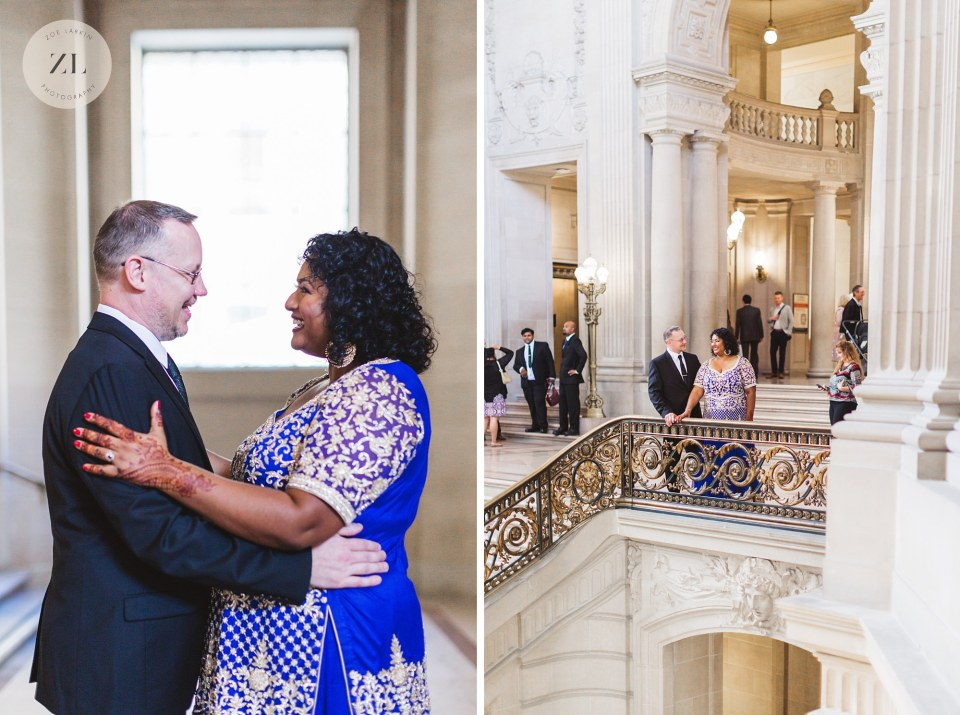 happy san francisco city hall wedding couple relaxed ceremony
