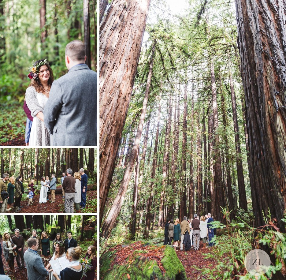 exchanging vows at santa cruz redwood forest wedding ceremony