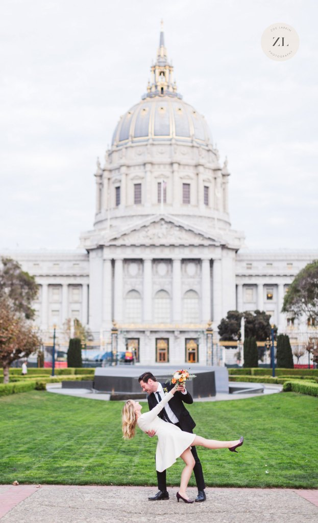 hip stylish couple san francisco city hall wedding photos