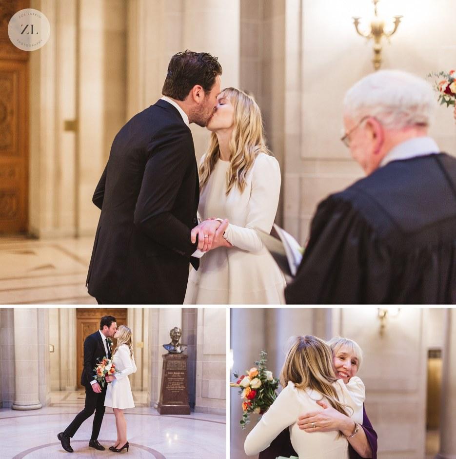 first kiss at rotunda ceremony at city hall