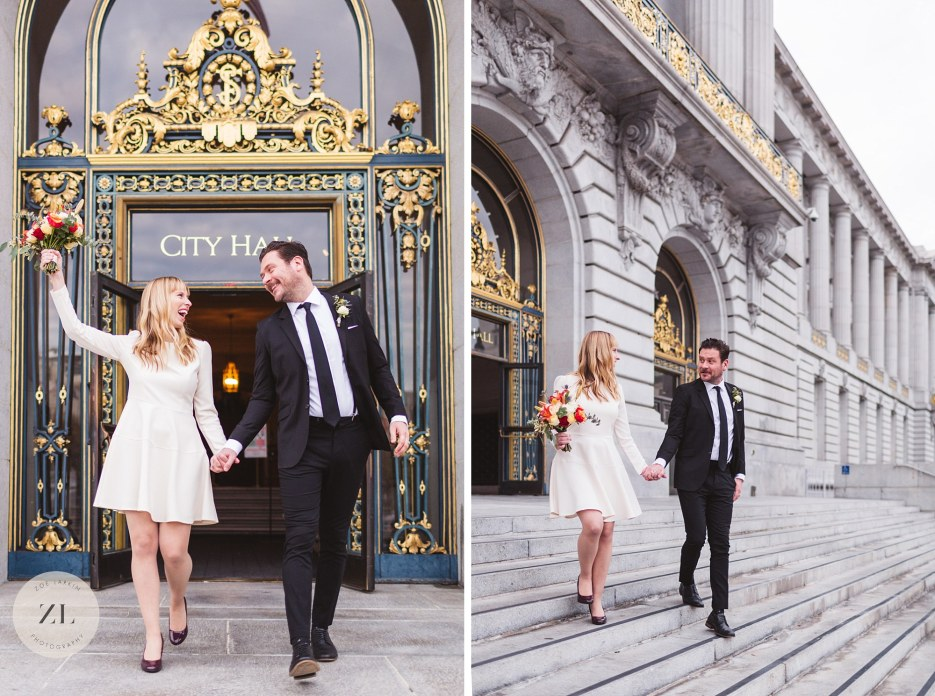 just married exiting city hall san francisco