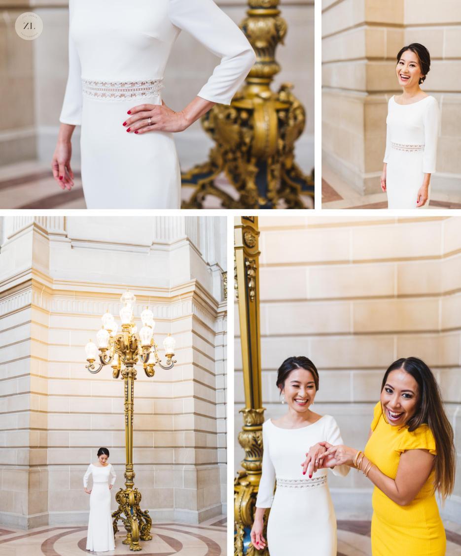 city hall pre-wedding photos bride with friend