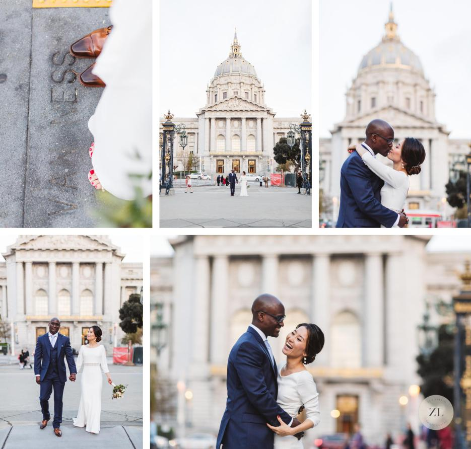 blasian couple post wedding portraits on van ness back view of san francisco city hall