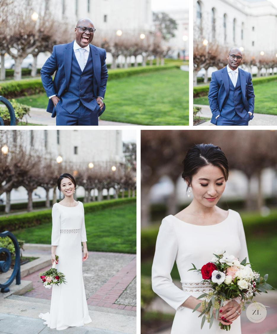 individual portraits of nigerian and japanese marriers behind san francisco city hall