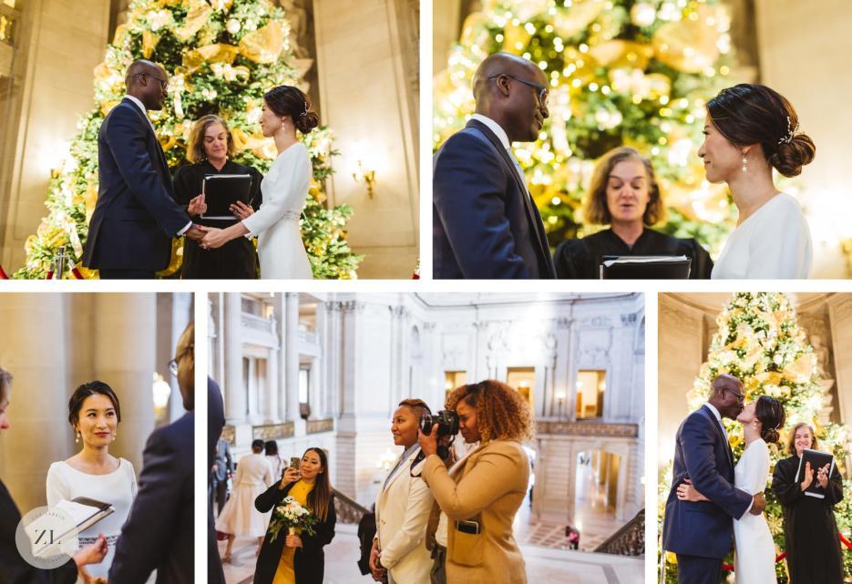 christmas city hall rotunda wedding ceremony