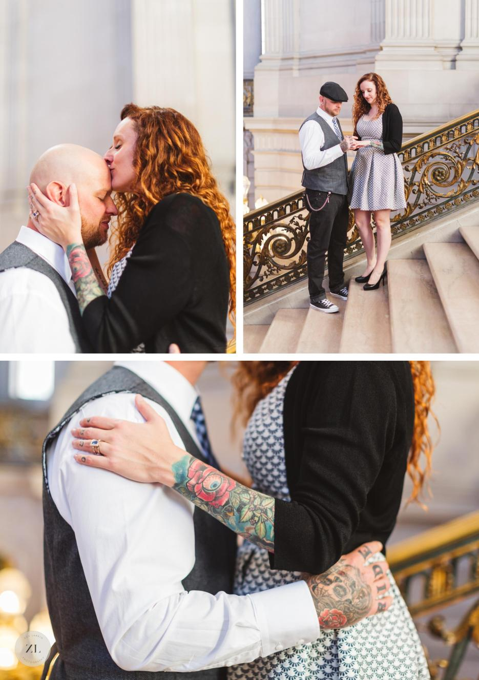 couple on grand staircase on city hall elopement photography