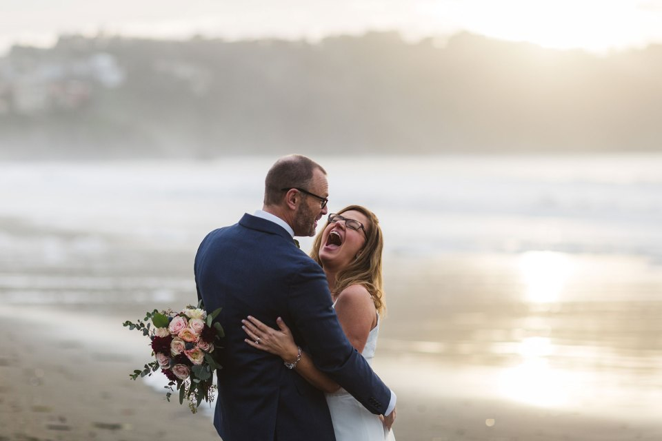 newlywed couples portraits on baker beach san francisco
