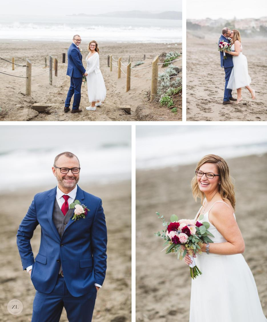 individual bride and groom portraits at baker beach elopement