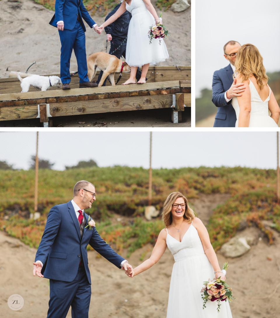 dogs in couples wedding photos on baker beach san francisco