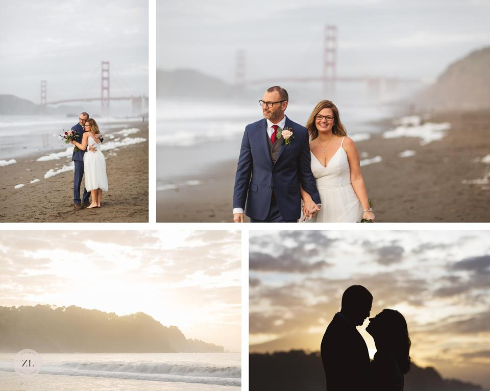 golden gate bridge wedding photos on baker beach