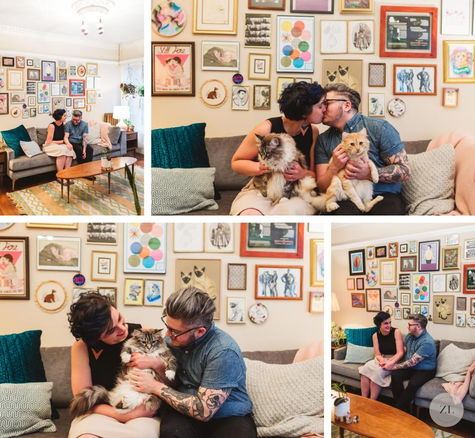 LGBTQ couple cuddling with their cats in their stylish vintage oakland apartment for Queer Oakland engagement