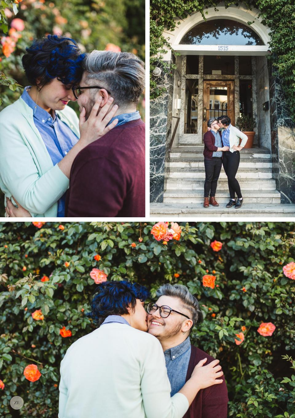 Queer Oakland engagement couple canoodling on their engagement shoot