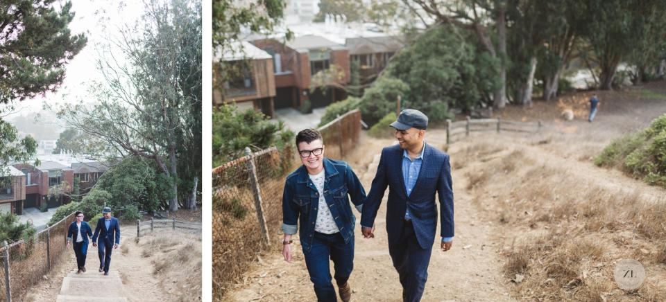 trans couple on engagement shoot walking in corona heights park san francisco