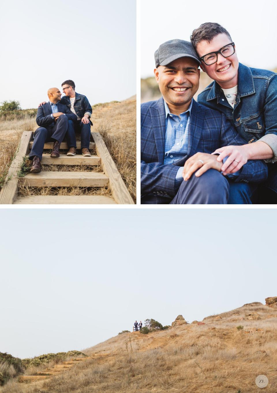 corona heights park landscape in the summertime with LGBTQ couple on their love shoot